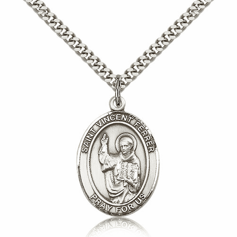 St Vincent Ferrer Silver-Filled Patron Saint Necklace by Bliss