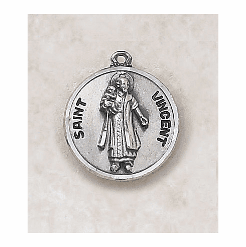 St Vincent Sterling Sterling Patron Saint Medal w/Chain by Creed Jewelry