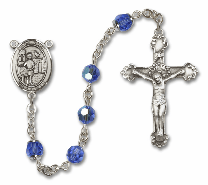 St Vitus Sapphire Swarovski Sterling and Gold Rosaries by Bliss - More Colors