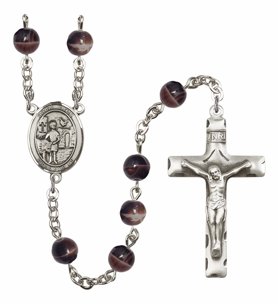 St Vitus 7mm Brown Gemstone Rosary by Bliss