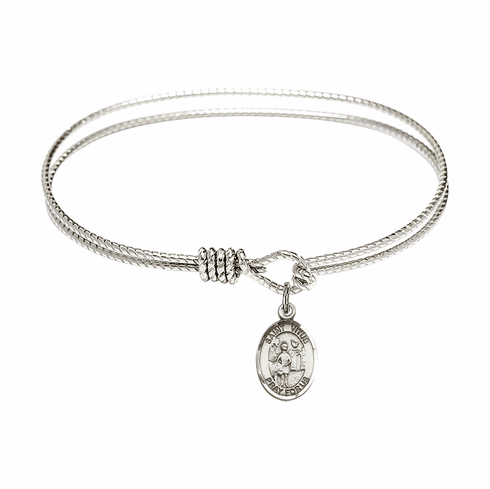 St Vitus Textured Bangle w/Sterling Charm Bracelet by Bliss