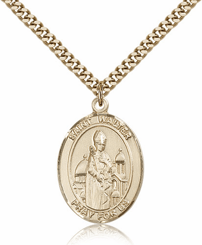 St Walter of Pontnoise Gold-Filled Saint Medal Necklace by Bliss