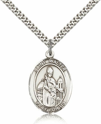 St Walter of Pontnoise Sterling Silver Patron Saint Medal Necklace by Bliss