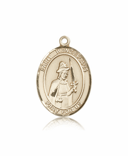 St Wenceslaus 14kt Gold Patron Saint Medal Pendant by Bliss