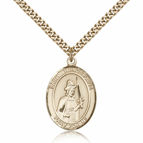 St Wenceslaus Gold-Filled Patron Saint Medal Necklace by Bliss