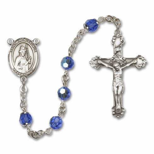 St Wenceslaus Sapphire Swarovski Sterling and Gold Rosaries by Bliss