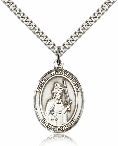 St Wenceslaus Sterling Silver Saint Medal Necklace by Bliss Mfg