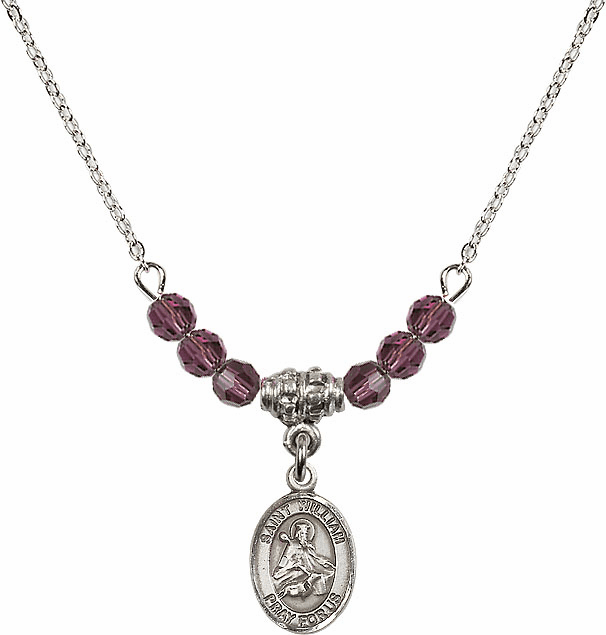 St William of Rochester 4mm Swarovski Crystal February Amethyst Necklace by Bliss Mfg