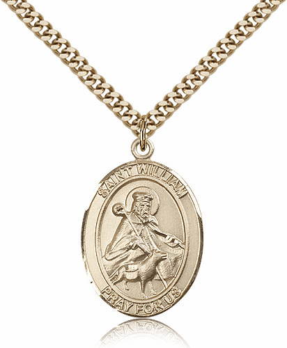 St William of Rochester Gold-Filled Patron Saint Medal Necklace by Bliss