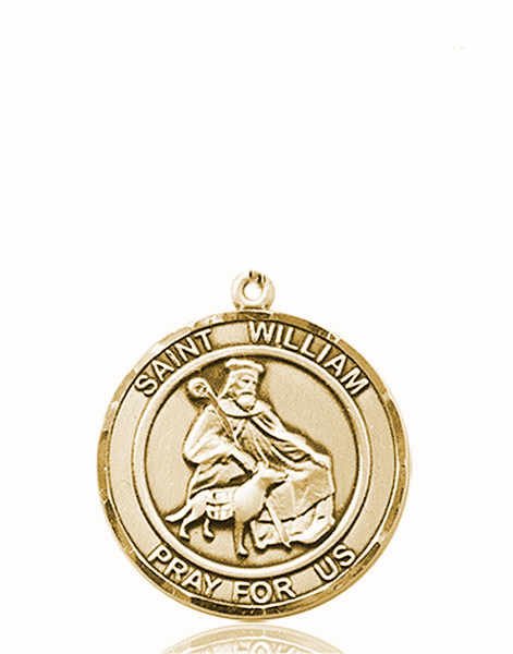 St William of Rochester Medium Patron Saint 14kt Gold Medal by Bliss
