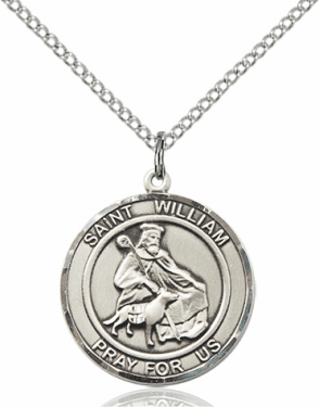 St William of Rochester Medium Patron Saint Silver-filled Medal by Bliss
