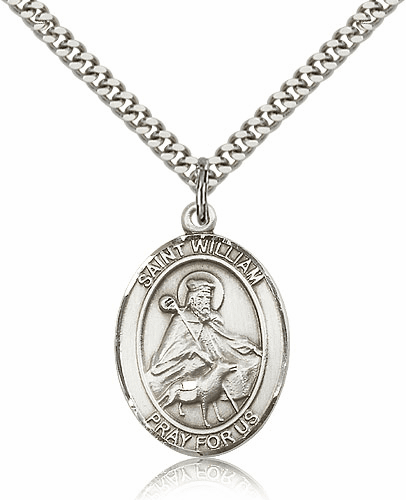 St William of Rochester Patron Saint Sterling Silver Medal