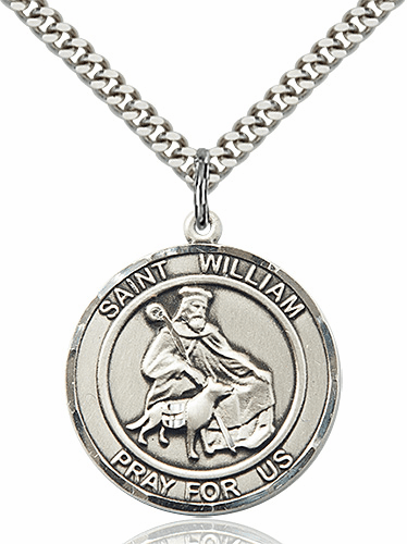 St William of Rochester Round Patron Saint Medal Necklace by Bliss