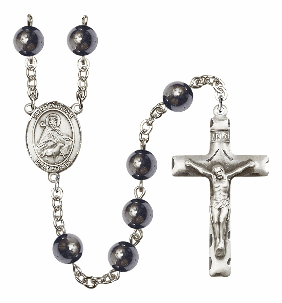 St William of Rochester Silver Plate 8mm Hematite Gemstone Prayer Rosary by Bliss