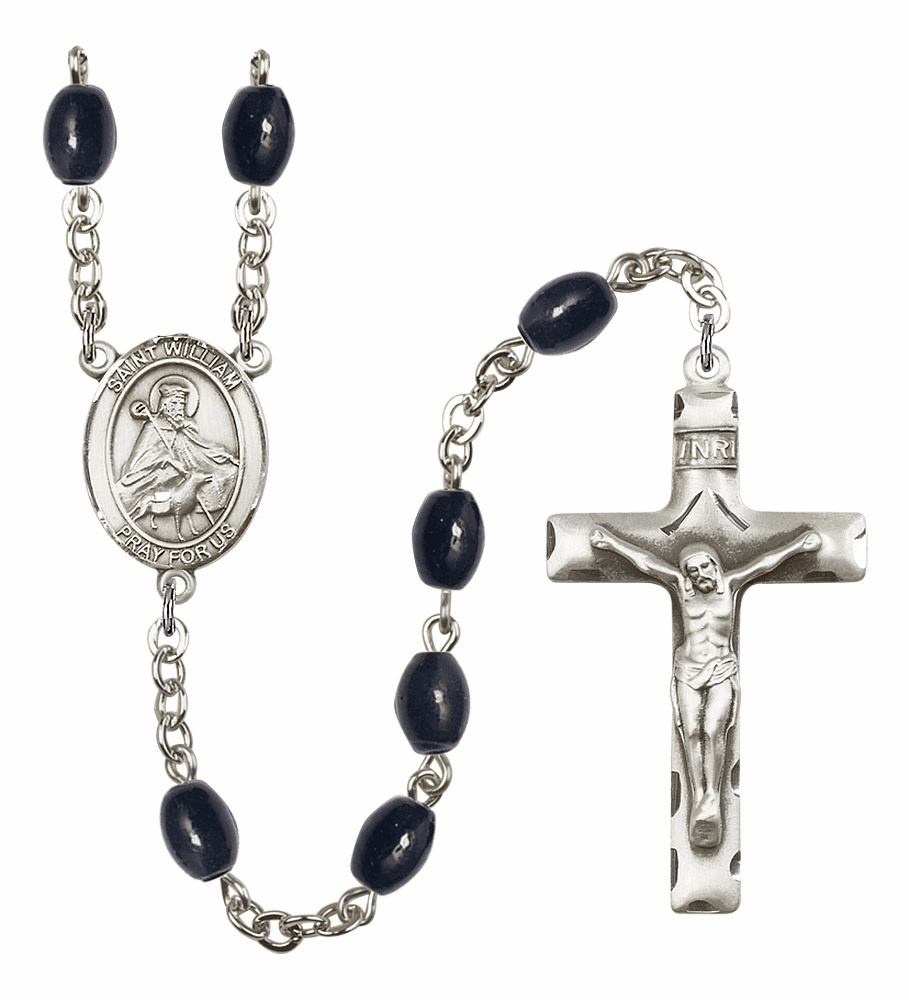 St William of Rochester Silver Plate 8x6mm Black Onyx Gemstone Prayer Rosary by Bliss