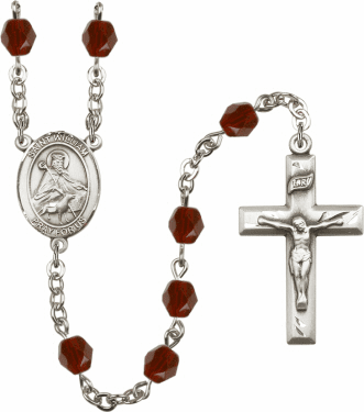 St William of Rochester Silver Plate Birthstone Crystal Prayer Rosary by Bliss