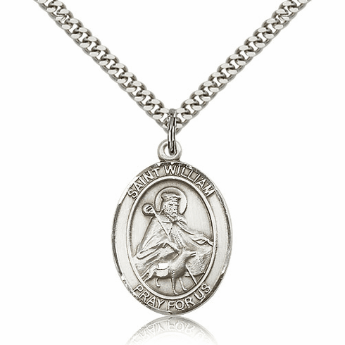 St William of Rochester Silver-Filled Patron Saint Necklace by Bliss