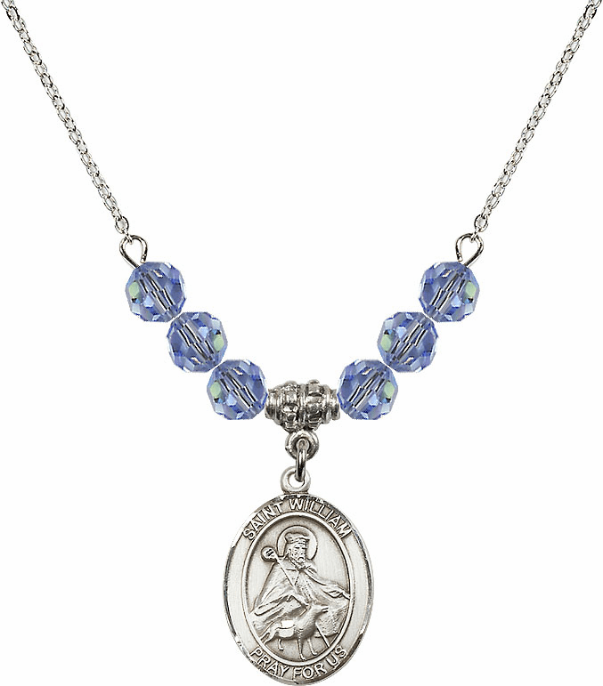 St William of Rochester Swarovski Crystal Beaded Patron Saint Necklace by Bliss Mfg