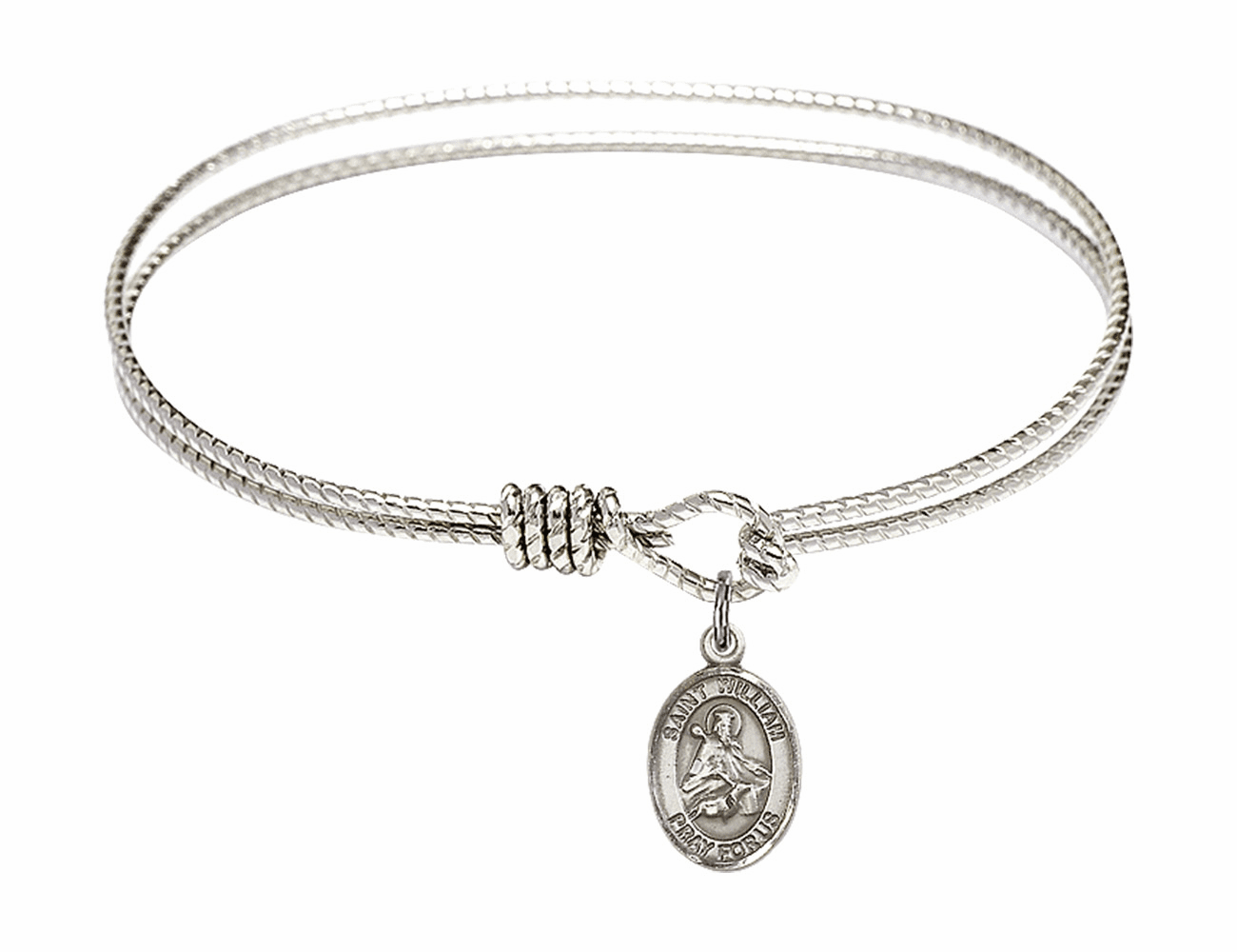 St William of Rochester Textured Bangle w/Sterling Charm Bracelet by Bliss