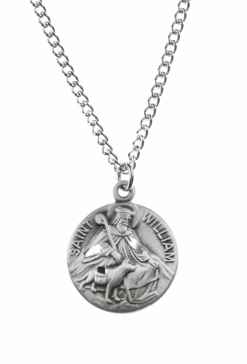 """St William Saint Medal Pendant w/18"""" Chain by Jeweled Cross"""