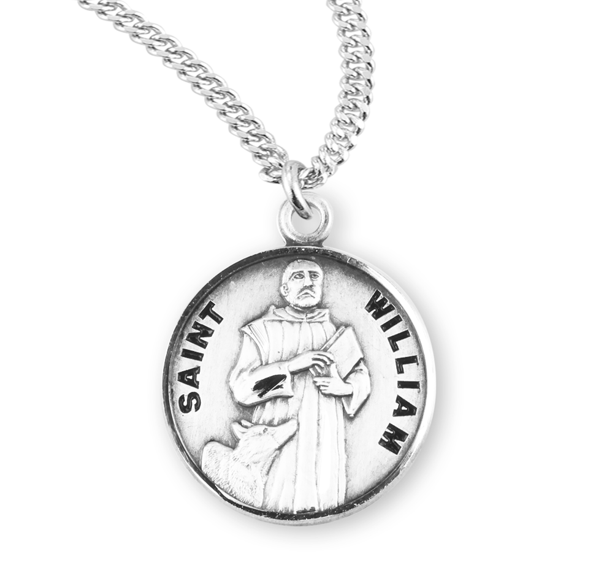 9996fd249d7 ... Patron Saint of Adopted Children. HMH Religious St William Sterling  Silver Medal Necklace