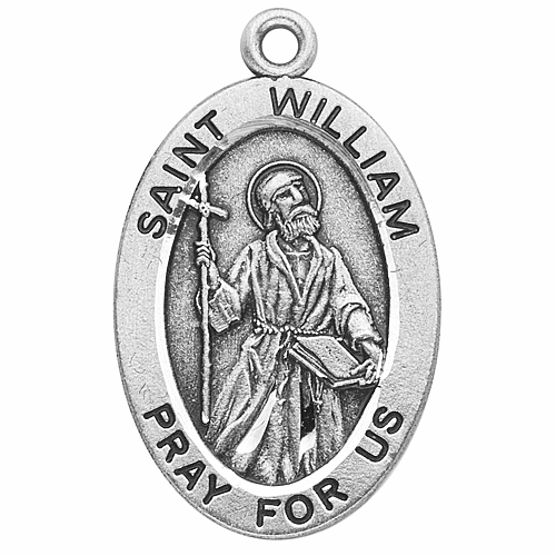 St William Sterling Silver Patron Saint Medal Necklace by HMH Religious