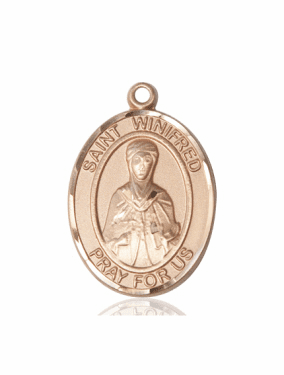 St Winifred of Wales 14kt Gold Patron Saint Pendant Medal by Bliss