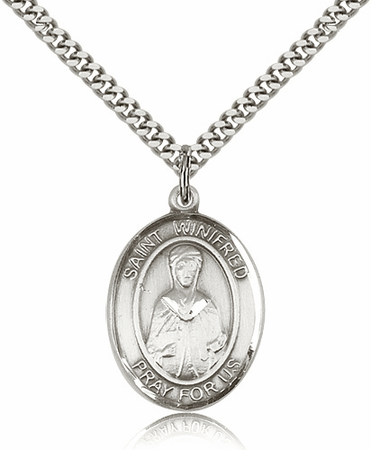 St Winifred of Wales Patron Saint Sterling Silver Necklace by Bliss