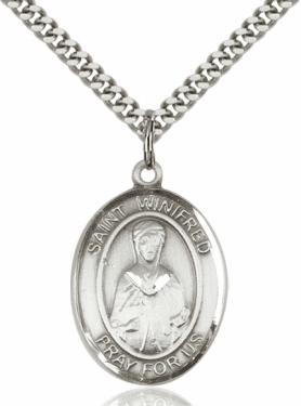 St Winifred of Wales Pewter Patron Saint Necklace by Bliss
