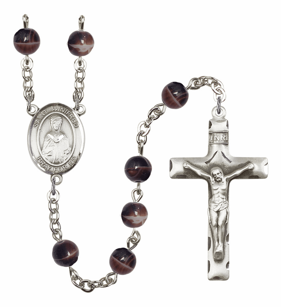 St Winifred of Wales Silver Plate 7mm Brown Gemstone Prayer Rosary by Bliss