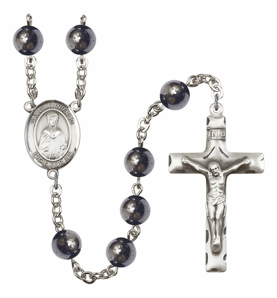 St Winifred of Wales 8mm Hematite Gemstone Rosary by Bliss