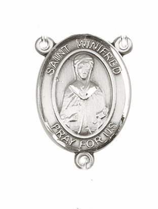 St Winifred of Wales Sterling Silver Saint Rosary Center by Bliss