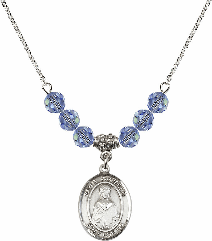 St Winifred of Wales Swarovski Crystal Beaded Patron Saint Necklace by Bliss Mfg