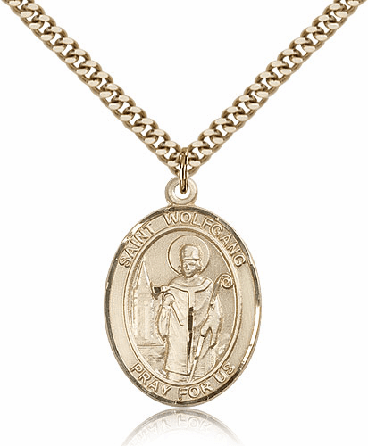 St Wolfgang 14kt Gold-Filled Patron Saint Medal Necklace by Bliss