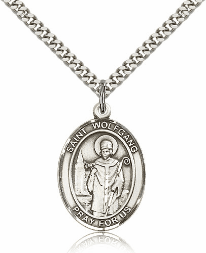 St Wolfgang Sterling Silver Patron Saint Medal Necklace by Bliss