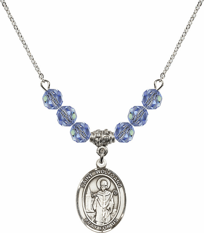 St Wolfgang Swarovski Crystal Beaded Patron Saint Necklace by Bliss Mfg