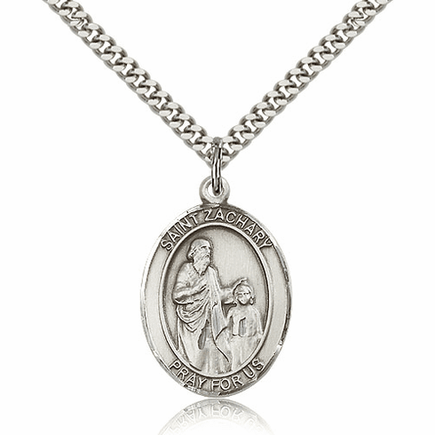 St Zachary Silver-Filled Patron Saint Necklace by Bliss