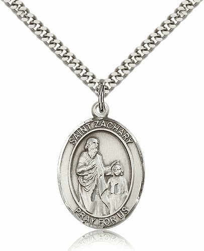St Zachary Sterling Silver Medal Pendant by Bliss