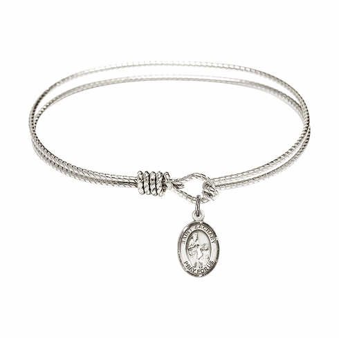 St Zachary Textured Bangle w/Sterling Charm Bracelet by Bliss