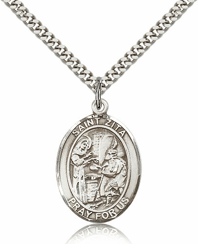 St Zita Sterling Silver Patron Saint Medal Necklace by Bliss