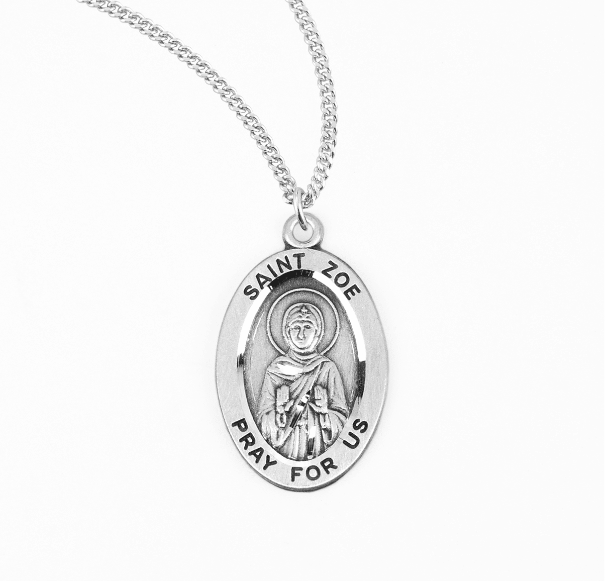 HMH Religious St Zoe of Rome Catholic Saint Sterling Silver Medal Necklace