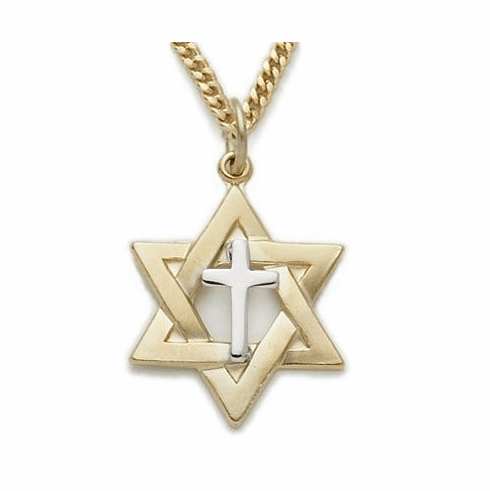 Singer 14K Gold Filled Two-Tone Star of David with Cross Necklace