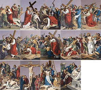 Stations of the Cross Outdoor Aluminum Plates 14pcs Set by Nelson