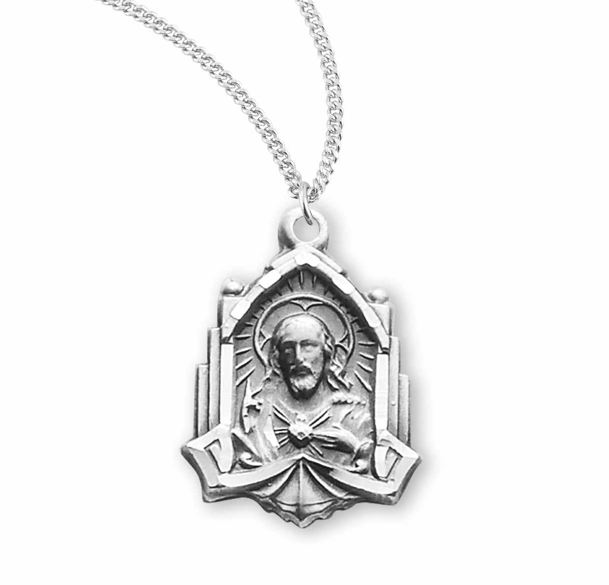 Sterling Cathedral Scapular Medal Necklace by HMH Religious