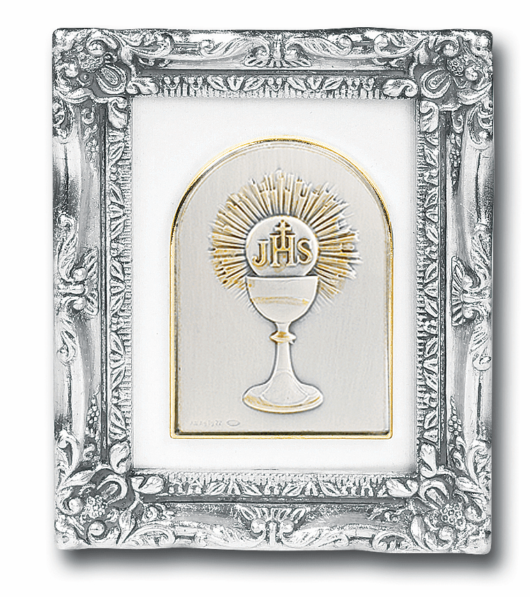 Sterling Holy Communion Chalice Image w/Antique Silver Frame Picture by Salerni