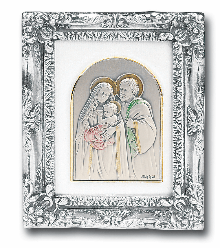 Sterling Holy Family Image w/Antique Silver Frame Picture by Salerni