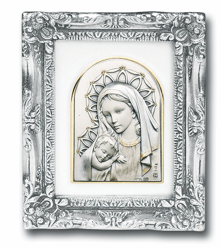 Sterling Madonna and Child Image wAntique Silver Frame Picture by Salerni
