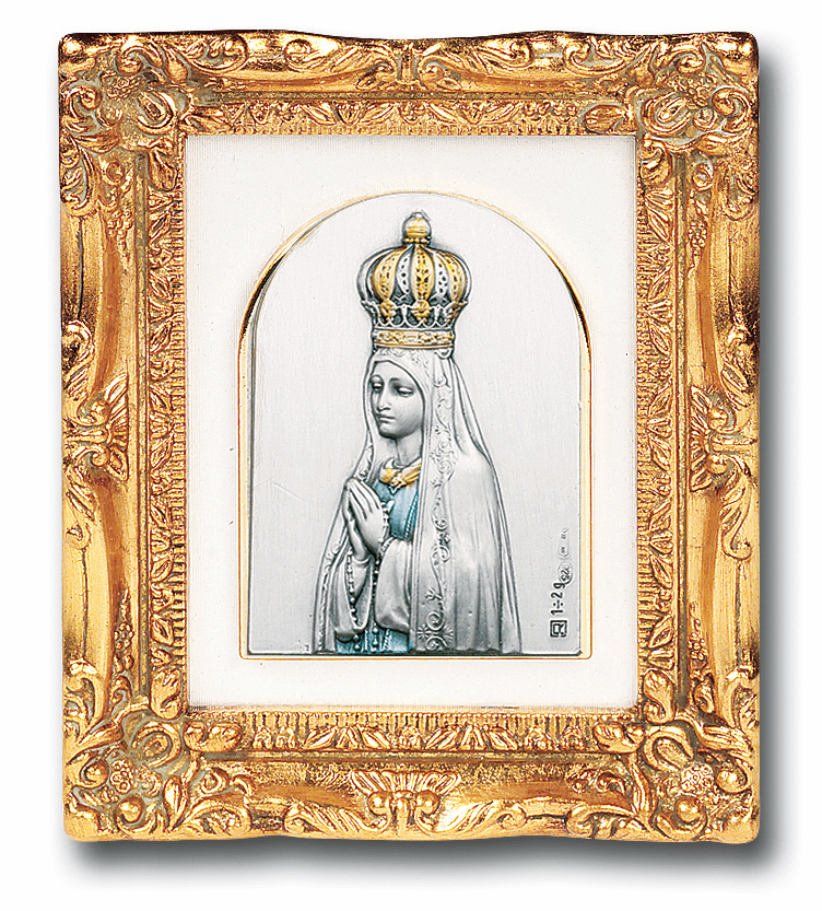 Sterling Our Lady of Fatima w/Antique Gold Frame Picture by Salerni