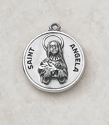 Sterling Patron Saint Angela Medal Necklace by Creed Jewelry