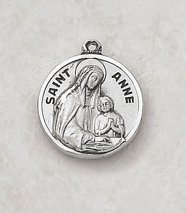 Sterling Patron Saint Anne Medal Necklace by Creed Jewelry